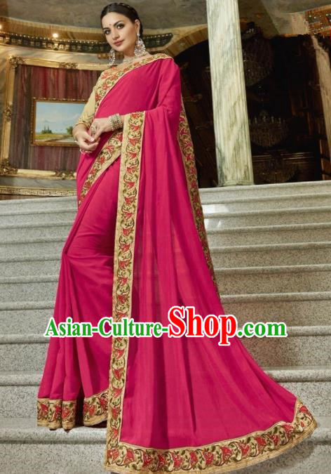 Indian Traditional Court Queen Rosy Sari Dress Asian India Bollywood Embroidered Costume for Women
