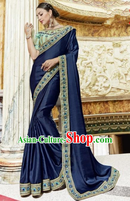 Indian Traditional Court Queen Navy Sari Dress Asian India Bollywood Embroidered Costume for Women