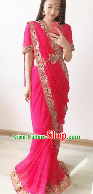 Indian Traditional Court Princess Rosy Sari Dress Asian India Bollywood Embroidered Costume for Women