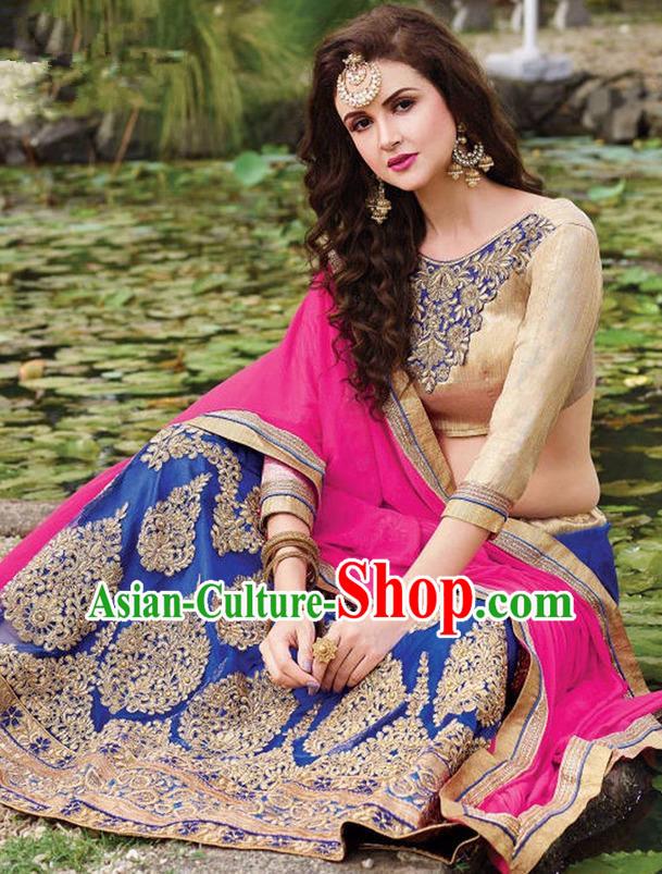 Asian India Traditional Bride Embroidered Royalblue Sari Dress Indian Bollywood Court Queen Costume for Women