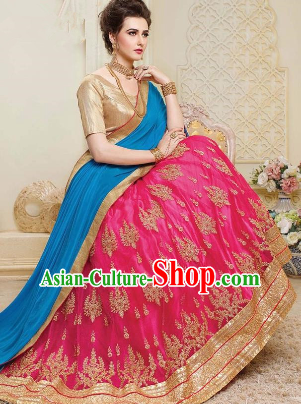 Asian India Traditional Bride Embroidered Rosy Sari Dress Indian Bollywood Court Queen Costume for Women