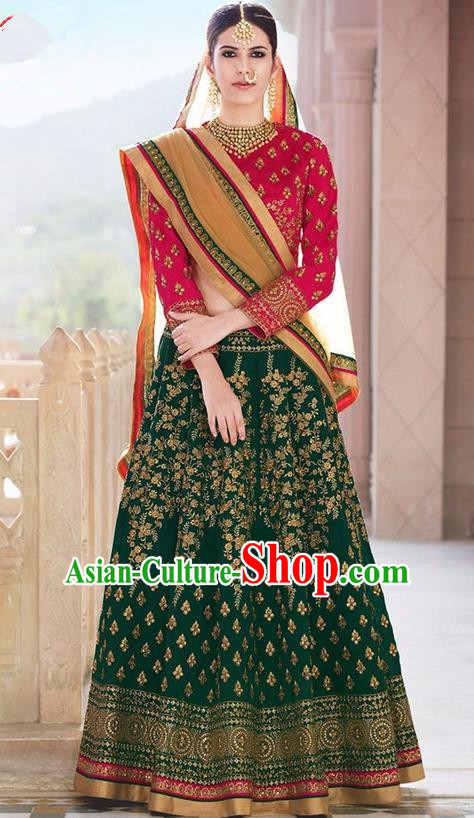 Asian India Traditional Bride Embroidered Deep Green Sari Dress Indian Bollywood Court Queen Costume for Women