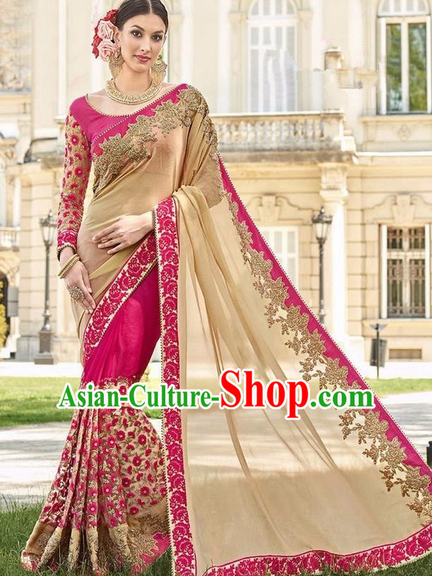 Asian India Traditional Rosy Sari Dress Indian Bollywood Court Bride Costume Complete Set for Women