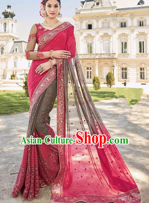 Asian India Traditional Embroidered Rosy Sari Dress Indian Bollywood Court Bride Costume Complete Set for Women