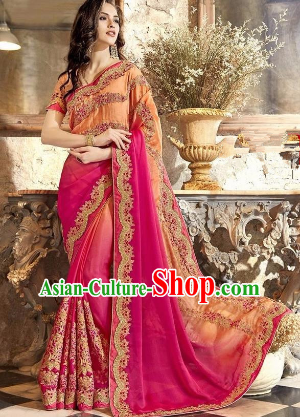 Asian India Traditional Court Princess Embroidered Rosy Sari Dress Indian Bollywood Bride Costume for Women