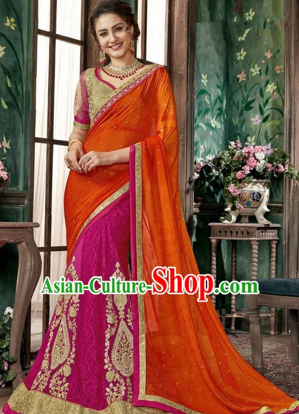Asian India Traditional Court Princess Rosy Sari Dress Indian Bollywood Bride Embroidered Costume for Women