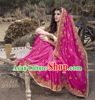 Asian India Traditional Rosy Sari Dress Indian Court Princess Bollywood Embroidered Costume for Women