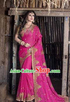 Asian India Traditional Rosy Veil Sari Dress Indian Court Princess Bollywood Embroidered Costume for Women