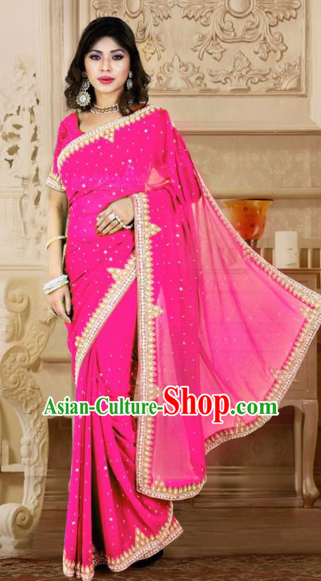 Indian Traditional Court Rosy Sari Dress Asian India Bollywood Royal Princess Costume for Women