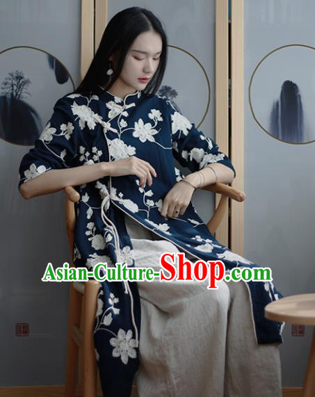 Chinese Traditional National Costume Embroidered Navy Qipao Dress Tang Suit Cheongsam for Women