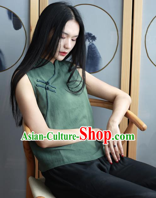 Chinese Traditional National Costume Green Linen Vest Tang Suit Upper Outer Garment for Women
