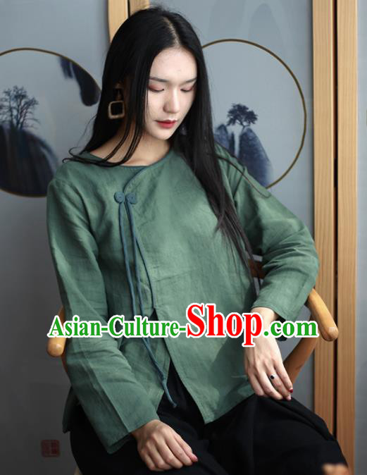 Chinese Traditional National Costume Green Linen Blouse Tang Suit Upper Outer Garment for Women