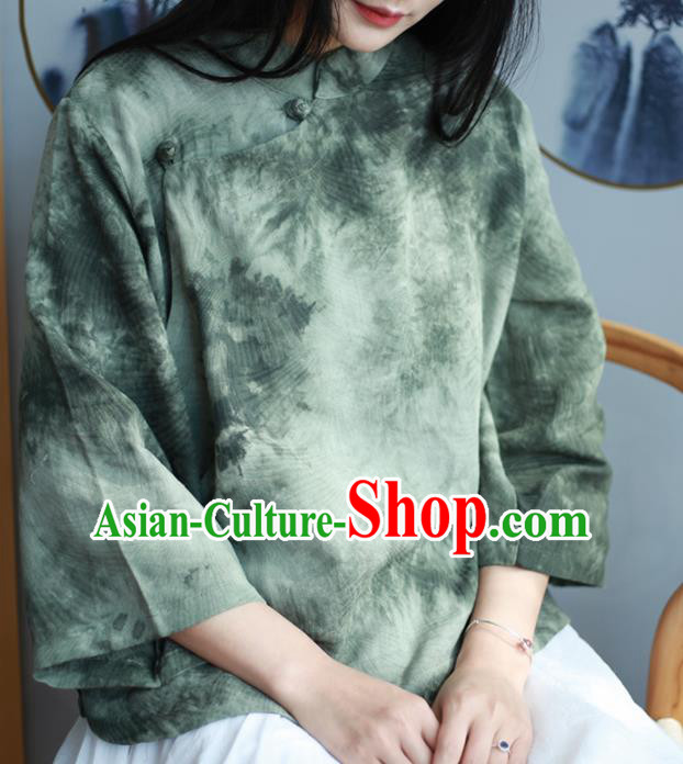 Chinese Traditional National Costume Printing Olive Green Blouse Tang Suit Upper Outer Garment for Women