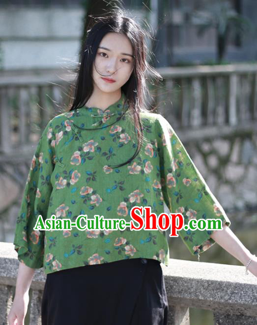 Chinese Traditional National Costume Printing Flowers Green Shirt Tang Suit Upper Outer Garment for Women