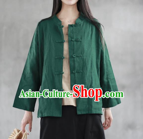 Chinese Traditional National Costume Green Linen Shirt Tang Suit Upper Outer Garment for Women