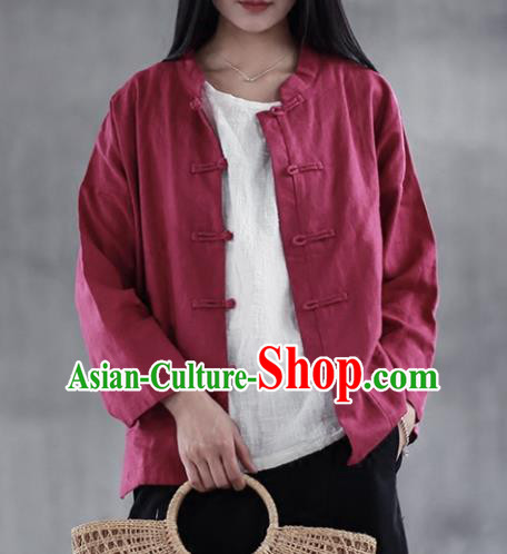 Chinese Traditional National Costume Wine Red Linen Shirt Tang Suit Upper Outer Garment for Women