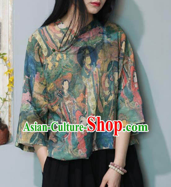 Chinese Traditional National Costume Printing Shirt Tang Suit Upper Outer Garment for Women