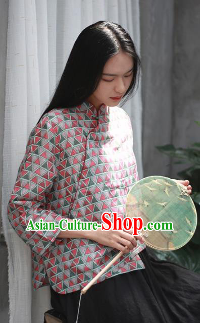 Chinese Traditional National Costume Slant Opening Shirt Tang Suit Upper Outer Garment for Women