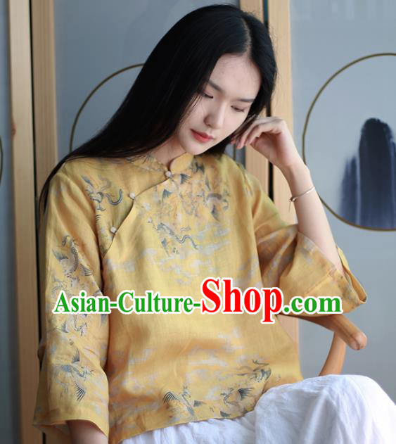 Chinese Traditional National Costume Printing Crane Yellow Blouse Tang Suit Upper Outer Garment for Women