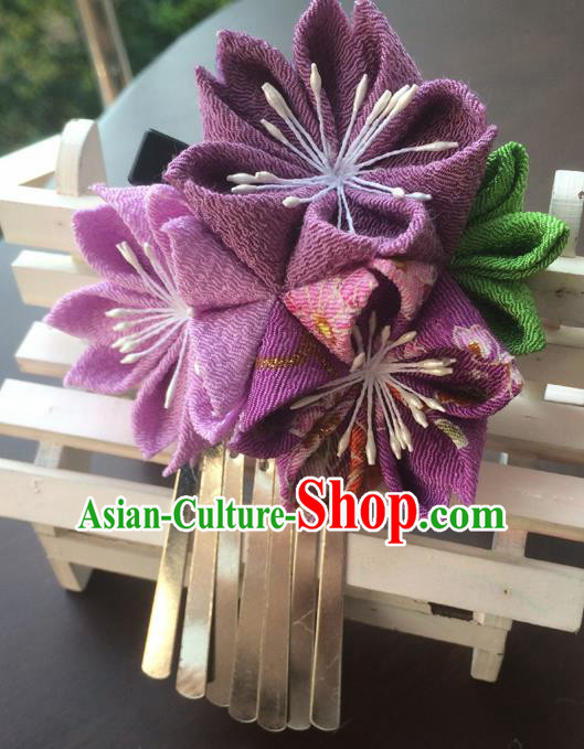 Traditional Japan Purple Sakura Tassel Hair Claw Japanese Kimono Hair Accessories for Women