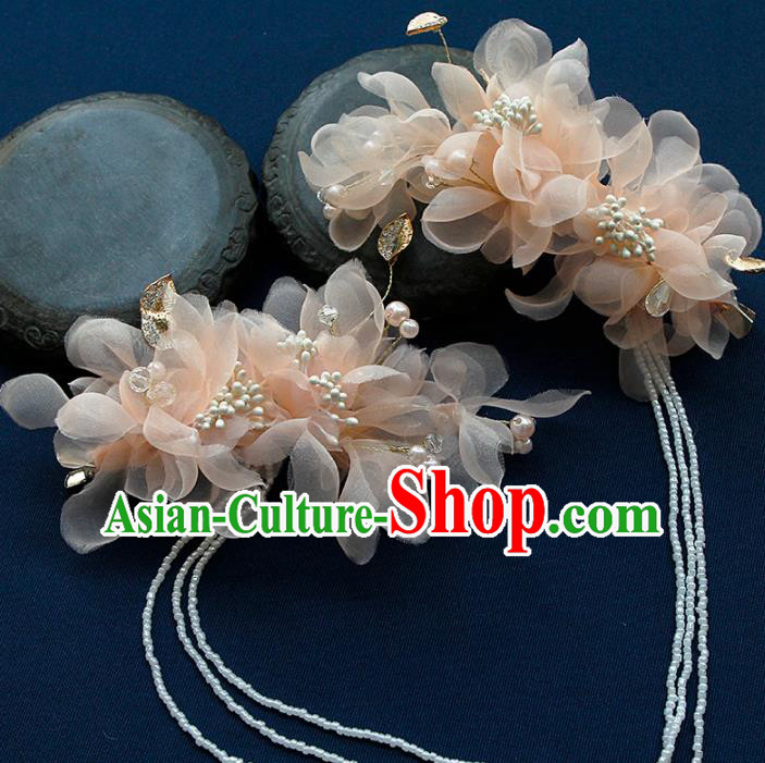 China Ancient Princess Pink Silk Flowers Tassel Hair Claw Hairpins Chinese Traditional Hanfu Hair Accessories for Women