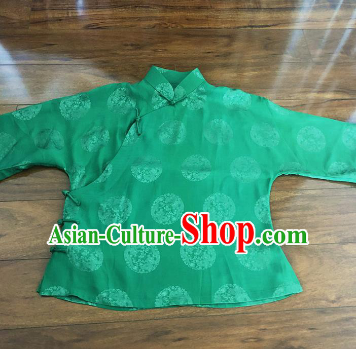 Chinese Traditional Handmade Green Shirt National Costume Upper Outer Garment for Women