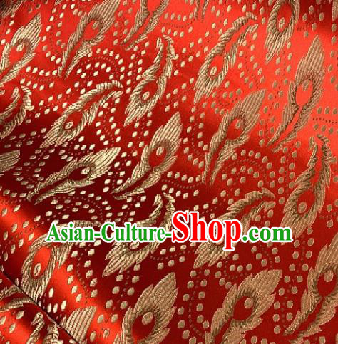Asian Chinese Traditional Feathers Pattern Design Red Brocade Fabric Silk Fabric Chinese Fabric Asian Material