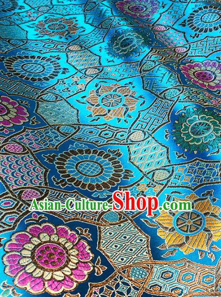 Chinese Classical Galsang Flower Pattern Design Blue Brocade Drapery Asian Traditional Tang Suit Silk Fabric Material
