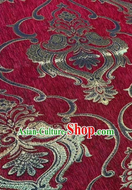 Chinese Classical Satin Traditional Pattern Design Purplish Red Brocade Drapery Asian Tang Suit Silk Fabric Material