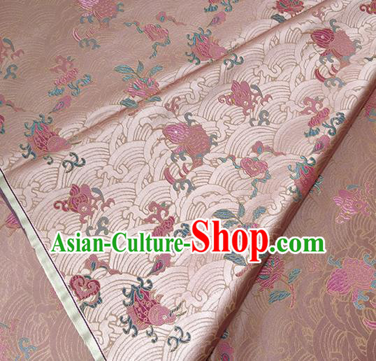 Traditional Chinese Classical Carps Pattern Design Fabric Pink Brocade Tang Suit Satin Drapery Asian Silk Material