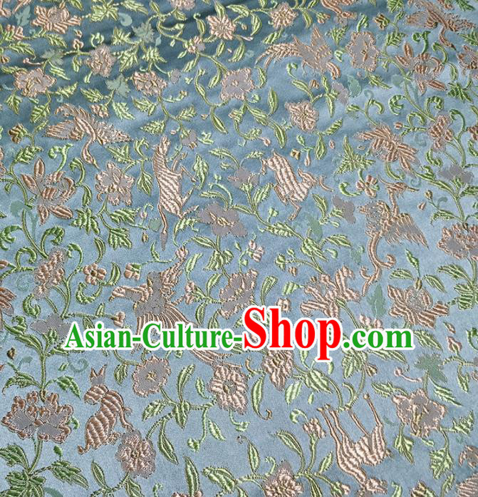 Traditional Chinese Classical Crane Pattern Design Fabric Blue Brocade Tang Suit Satin Drapery Asian Silk Material