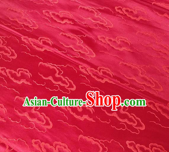 Traditional Chinese Classical Auspicious Clouds Pattern Design Fabric Red Brocade Tang Suit Satin Drapery Asian Silk Material