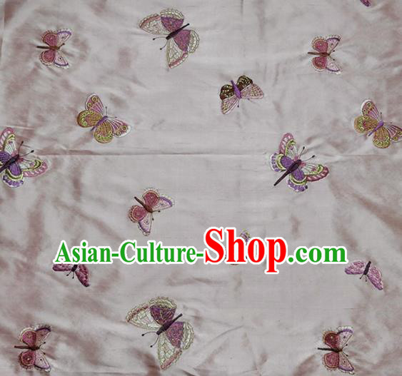 Traditional Chinese Classical Butterfly Pattern Design Fabric Pink Brocade Tang Suit Satin Drapery Asian Silk Material