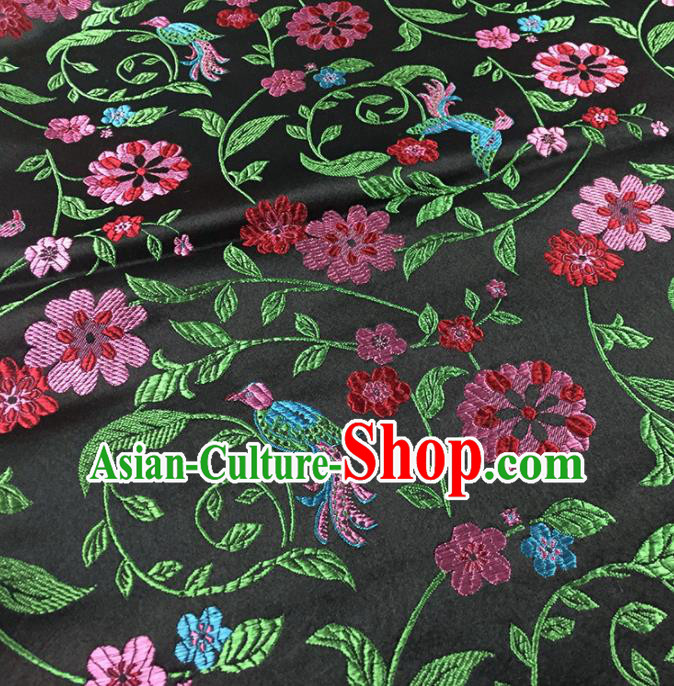 Traditional Chinese Classical Flowers Pattern Design Fabric Black Brocade Tang Suit Satin Drapery Asian Silk Material