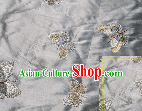 Traditional Chinese Classical Butterfly Pattern Design Fabric Grey Brocade Tang Suit Satin Drapery Asian Silk Material