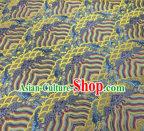 Traditional Chinese Classical Waves Pattern Design Fabric Yellow Brocade Tang Suit Satin Drapery Asian Silk Material