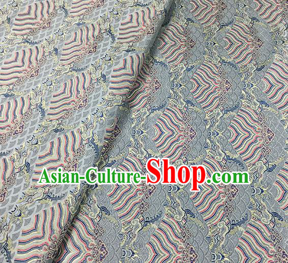 Traditional Chinese Classical Waves Pattern Design Fabric Grey Brocade Tang Suit Satin Drapery Asian Silk Material