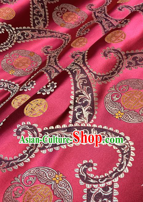Chinese Classical Wine Red Brocade Traditional Pattern Design Satin Drapery Asian Tang Suit Silk Fabric Material
