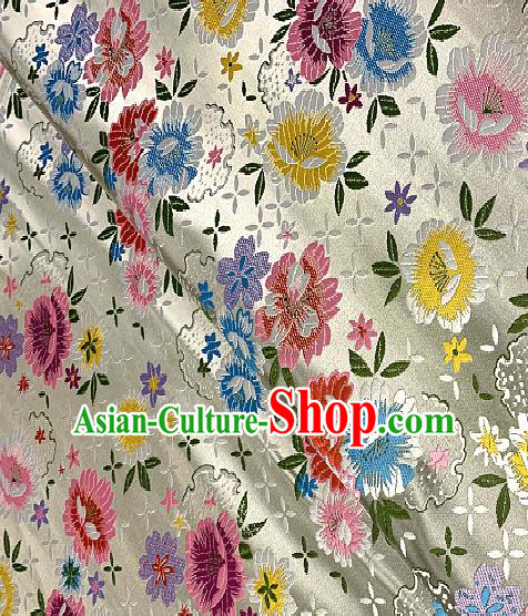 Chinese Traditional White Brocade Classical Peony Pattern Design Satin Drapery Asian Tang Suit Silk Fabric Material