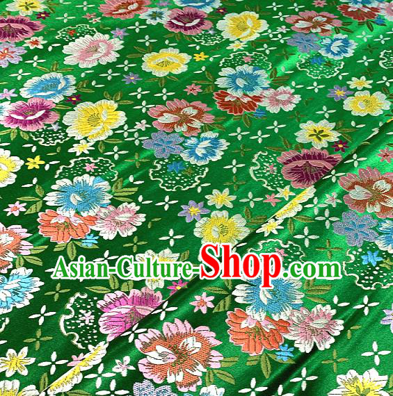 Chinese Traditional Green Brocade Classical Peony Pattern Design Satin Drapery Asian Tang Suit Silk Fabric Material