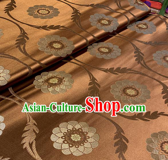 Chinese Traditional Lotus Pattern Design Bronze Brocade Classical Satin Drapery Asian Tang Suit Silk Fabric Material
