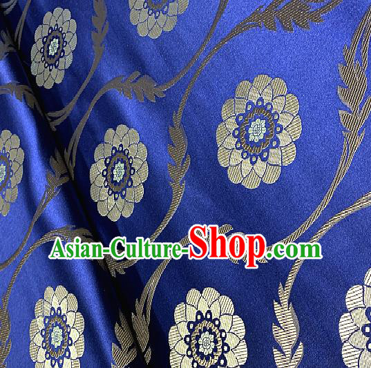 Chinese Traditional Lotus Pattern Design Royalblue Brocade Classical Satin Drapery Asian Tang Suit Silk Fabric Material
