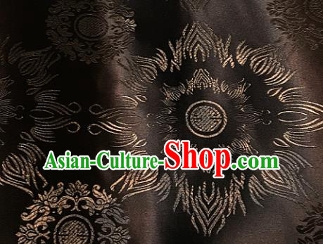 Traditional Chinese Pattern Design Brown Brocade Classical Satin Drapery Asian Tang Suit Silk Fabric Material