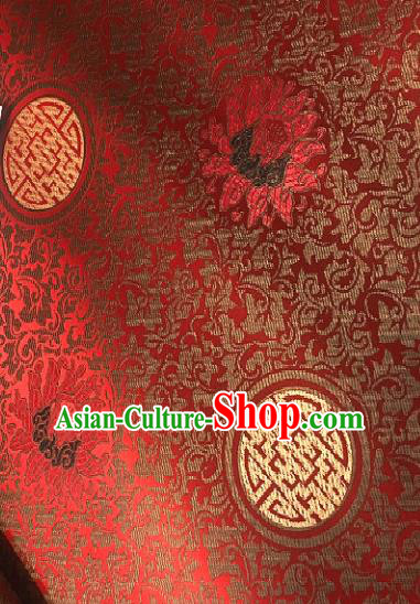 Traditional Chinese Classical Pattern Design Red Brocade Satin Drapery Asian Tang Suit Silk Fabric Material
