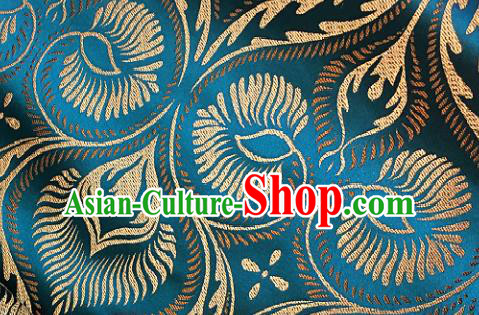 Traditional Chinese Blue Brocade Classical Pattern Design Satin Drapery Asian Tang Suit Silk Fabric Material