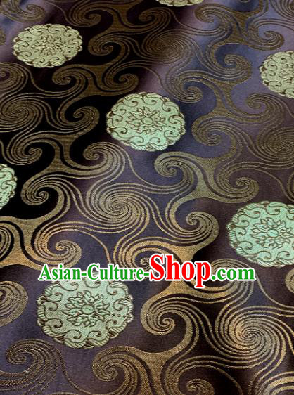 Traditional Chinese Tang Suit Fabric Purple Brocade Classical Lotus Pattern Design Satin Drapery Asian Silk Material