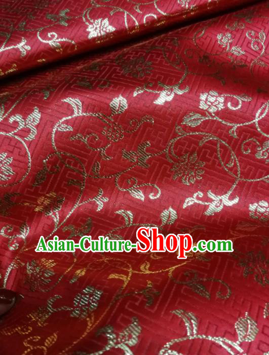 Asian Chinese Classical Timbo Pattern Design Red Brocade Fabric Traditional Tang Suit Satin Drapery Silk Material