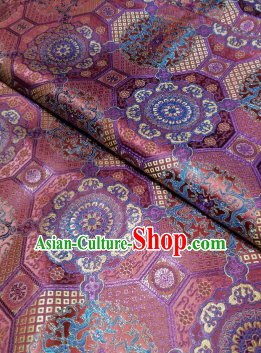 Asian Chinese Classical Pattern Design Violet Brocade Fabric Traditional Tang Suit Satin Drapery Silk Material