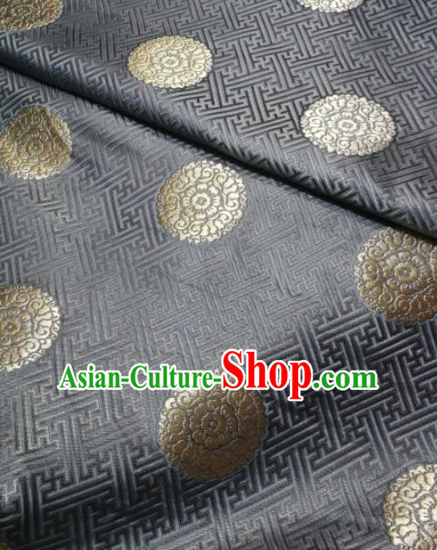 Asian Chinese Classical Longevity Pattern Design Grey Brocade Fabric Traditional Tang Suit Satin Drapery Silk Material