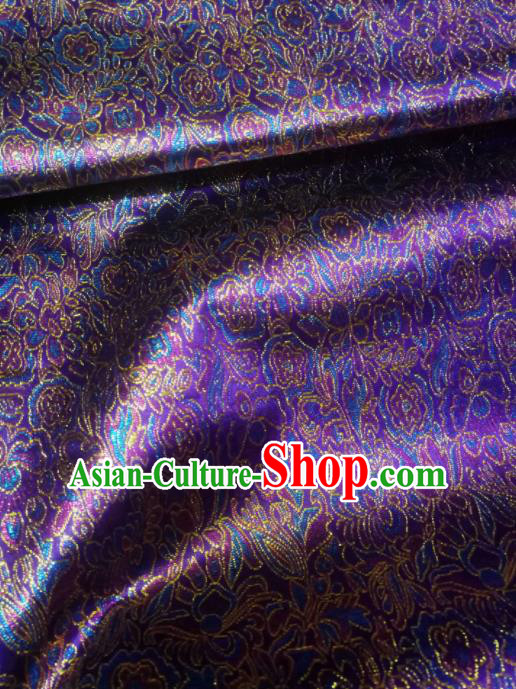 Asian Chinese Classical Pattern Design Purple Brocade Fabric Traditional Tang Suit Satin Drapery Silk Material